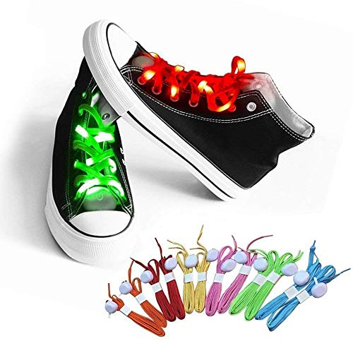 AYAMAYA LED Shoelaces Nylon Glow Shoes Laces with Three Flashing Modes Light up Accessories for Dancing Running Hip-hop Cycling Running Best Children Gift, Orange ()