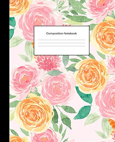 Composition Notebook: College Ruled Blank Lined Notebook Journal for School Writing Notes Pink Blush Floral ()