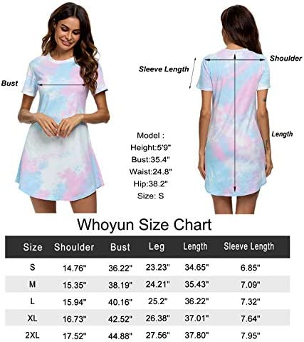 Whoyun Tie Dye Nightgowns for Women, Sleepwear Sleepshirts Sleep T-Shirts Dress Short Sleeve Loungewear Cotton S-XXL