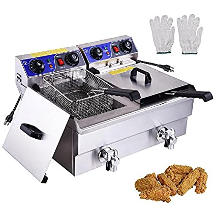 20L Electric Deep Fryer Commercial Dual Tank Stainless Steel Timer Drain 6000W