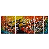 Pure Art Gigantic Tree of Life Metal Wall Art Decor, Colorful 3D Artwork for Modern, Contemporary and Traditional Decor, 6-Panels Measures 24″x 65″, Abstract Great for Indoor and Outdoor Rooms