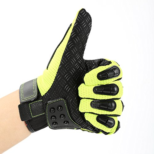 Motorcycle Alloy Steel Knuckle Gloves Motorbike Powersports Racing Tactical Paintball Gloves (Full Finger with Steel Ball, Green)