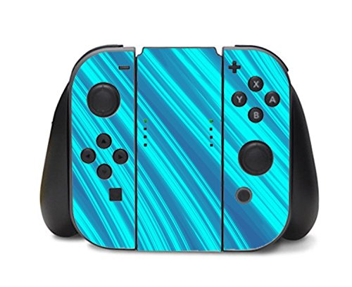 Blue Teal Line Artwork Nintendo Switch Controller Vinyl Decal Sticker Skin by Moonlight Printing