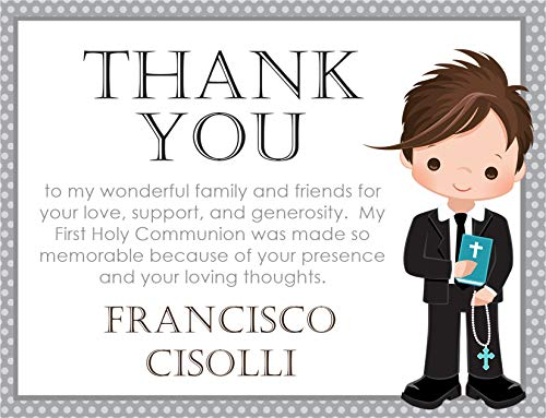(Personalized Boys Communion Thank You Cards, Boys First Holy Commuion Decorations, Boys First Holy Communion Supplies)