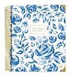 """bloom daily planners 2019 Calendar Year Hardcover Vision Planner (January 2019 - December 2019) - Monthly/Weekly Column View Inspirational Dated Agenda Organizer - 7.5"""" x 9"""" - Blue & White Floral"""