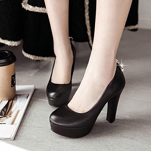 Mee Shoes Women's Fashion High Heel Pointed Toe Platform Court Shoes Black H8xrc0iGu