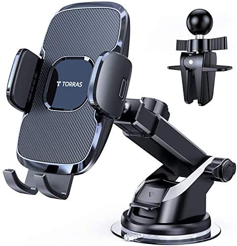 TORRAS Cell Phone Holder for Car[4th-Gen for Big Thick Phone], Car Phone Holder Mount Dashboard Windshield Vent Compatible for iPhone 12 11 Pro Max X XR SE, Samsung Galaxy S20+Ultra/Note 20 10 Plus