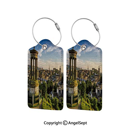 2020 Heritage Card - Personal Expression Luggage Tag Business Card Holder,Edinburgh Town Aerial View of Historical Buildings Heritage Panorama Art 2 PCS Fern Green Blue Tan,With Lifetime Never Lost Guarantee
