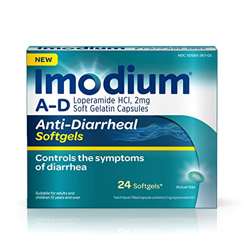 Imodium A-D Anti-Diarrheal Softgels with Loperamide Hydrochloride, Diarrhea Relief Medicine, 24 ct.