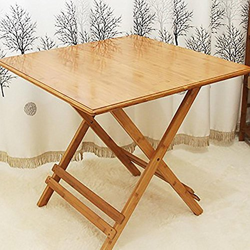 KSUNGB Folding table Writing desk Dining table Square table Solid wood Foldable Small table, Wood color, 70cm by KSUNGB