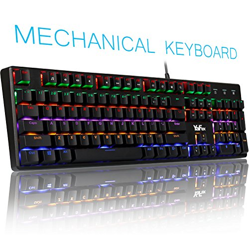 Mechanical Gaming Keyboard with Blue Switches, YaFex 104 Keys Rainbow LED Backlit Anti-Ghost Wired Gaming Keyboard with Durable ABS Black Keycaps Perfect for PC&Mac Gamers and typist by YaFex
