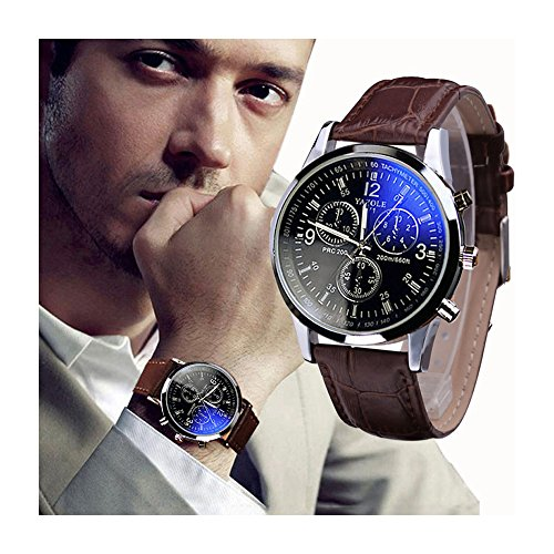 6STARSTORE Splendid new luxury fashion faux leather men blue ray glass quartz analog watches casual cool watch brand men watches 2017