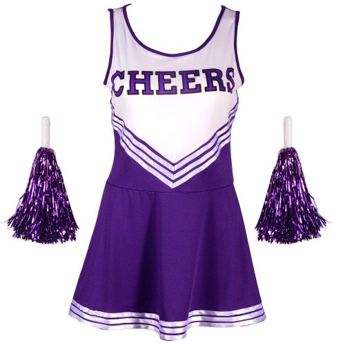 VARSITY COLLEGE SPORTS School Girl CHEERLEADER UNIFORM COSTUME OUTFIT purple XS (Halloween Costumes For College Girls)