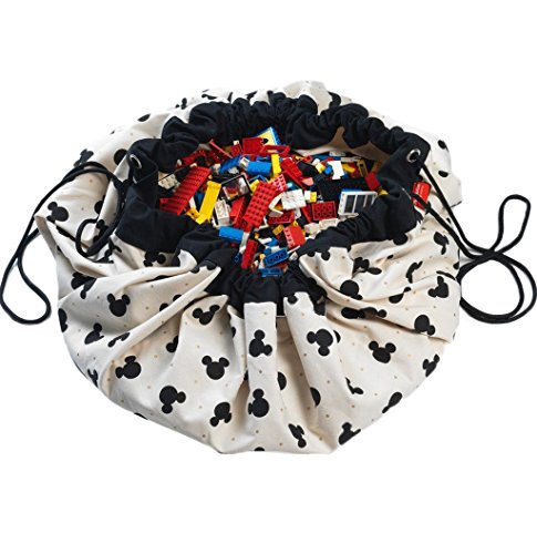 Play Mat and Toy Storage Bag - Durable Floor Activity Organizer Mat - Large Drawstring Portable Container for Kids Toys, Lego, Books - 55'', Mickey, Black by Play&Go
