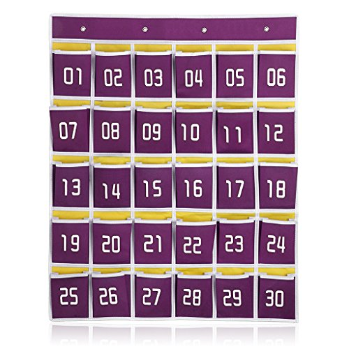 Hipiwe Numbered Classroom Organizer Pocket Chart for Cell Phones Calculator Holders with Hooks (30 pockets purple)