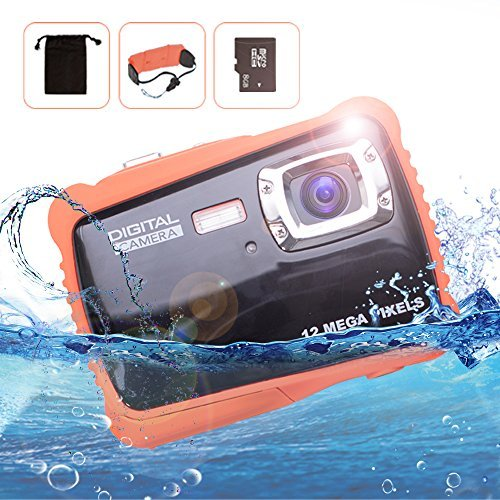 Waterproof Digital Underwater Camera for kids 12MP HD Underwater Action Cams 2.0 LCD Screen 4x Digital Zoom Children Birthday Holiday Gift Water Sports Camcorder -8G TF Card & Floating Wrist Strap [並行輸入品]   B07FP4Z9VY