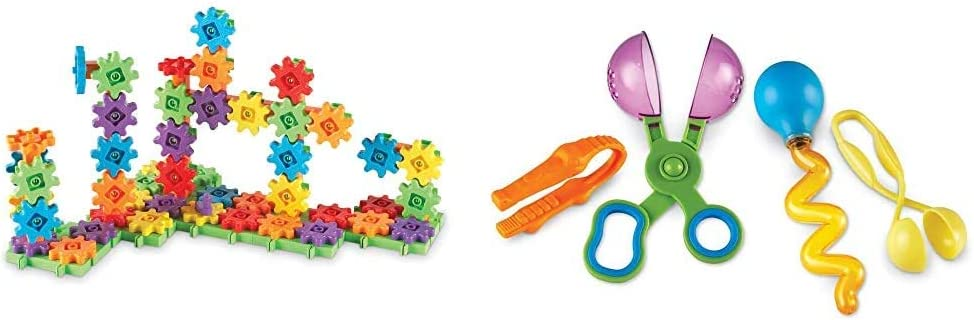 Learning Resources Gears! 100 Piece Deluxe Building Set, Construction Toy, Ages 3+ & Helping Hands Fine Motor Tool Set Toy, Fine Motor and Sensory Toy, Ages 3+ (LER5558),Multi-Color