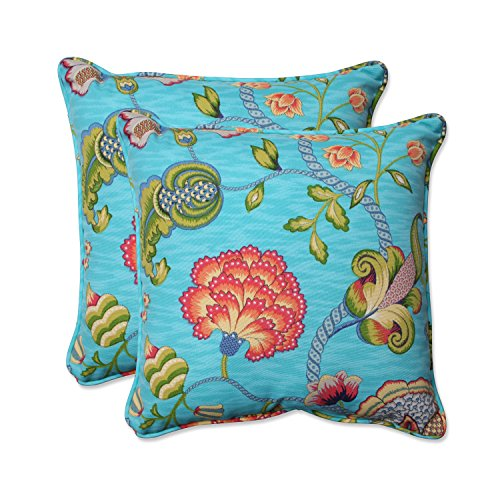 Pillow Perfect Outdoor Indoor Arabella Caribbean Throw Pillow Set of 2 , 18.5 , Blue