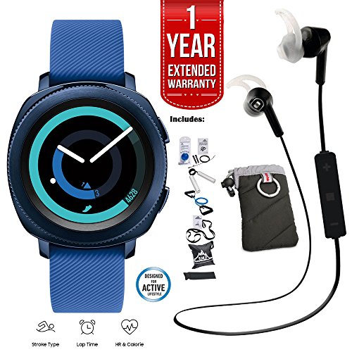 Click to buy Samsung Gear Sport Activity Tracker (Blue) with Heart Rate Monitor, 7 Pieces Fitness Kit, Kodak Case, Pro Bluetooth Earbuds, and 1 Year Extended Warranty Bundle - From only $297.99