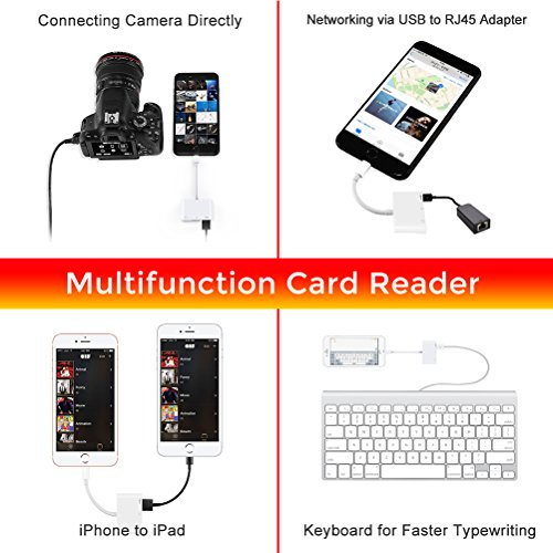Card Camera Reader, SD Card Reader, Trail Game Camera SD&TF Card Reader, 3 in 1 Lightning to Camera Card Reader, Lightning to USB 2.0 Female OTG Adapter for iPhone/iPad [No need APP](White) by RayCue (Image #5)