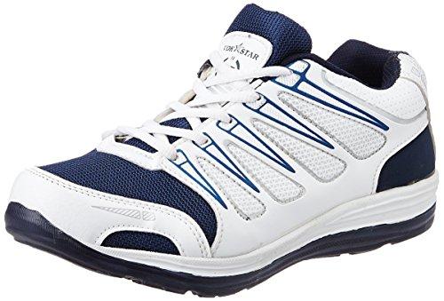 Vokstar Men's White and Blue Running Shoes - 6 UK (V203)