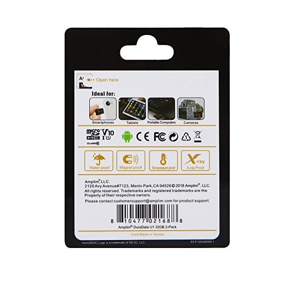 Amplim 2 Pack 32GB Micro SD SDHC TF Flash Memory Card Plus Adapter for Cell Phone, Tablet, Camera, Drone 3 CELL PHONE/TABLET COMPATIBILITY: Samsung Galaxy J2 Tab A Note8 Note 8 S8 S9 Plus S8+ Active S7 S5 S6 J7 V Max edge J5 J3 Emerge Perx E5 Prime Z4 Amp Express 2 Xcover 4 Tab S3 S2 E A Book 8.0 S2 9.7 View C7 C9 Pro A7 A5 A3 Eclipse Note5 On5 Amp 2 Halo; LG V30 V30+ V20 V10 X charge Q8 Q6 G6 G6+ G5 G4 X K8V venture Stylo 2 3 Plus Power Harmony K20 V Fortune Phoenix 3 G Pad X II F2; Amazon Fire HD, Microsoft Surface Pro 3 4; ASUS ZenFone V Live 4 Selfie Pro 3S 10 LTE Live AR 3 Zoom ZenPad Z10 Z8 Sony Xperia XZ Premium XA1 Plus Ultra XZ1 Compact L1 XZS XCompact XA Z5 M5; HTC One U11 life Desire 555 U Ultra Play 530 625 10 A9; Motorola Moto X4 G5S Plus Z Z2 Force Edition E4 Play G5 G4 Plus Bolt Droid tab MAXX 2 TURBO 2; Huawei Honor 9 7X 6C 8 Pro View 10 V10 Mate 10 Lite Y6 Pro P8 P9 Lite P10 Plus mini nova 2 Plus6A nova 2 Y7 Prime; OPPO F5 R11 F3 Plus; Xiaomi Redmi Y1 Lite Mi A1 Max 2 5 Plus Note 4X; ZTE Blade X Force Vantage Z Max XL 3 V8 Mini Lite Pro Axon M Blade Zpad Nokia 2 8 3 5 6 Alcatel IDOL 4 5 LED A7 A30 Tablet Fierce U5 HD Idol 5S A30 Plus A50 Pulsemix; BlackBerry KEYone PRIV; BLU Life One X2 Mini R1 Plus Tank Xtreme Dash L3 Vivo XL2; Razer Phone; nubia N2 N1 Lite;; ARCHOS 50 55 Graphite; FiGO Gravity; DuraForce PRO; Ellipsis 8 HD Gizmo Tab; Lumia 735 640 650 950 XL; AT&T Trek 2 HD G Pad X 8.3 8.0 F II 10.1 Lancet 626 626S; LG Exalt LTE Aristo K3 Fortune; Elipsis 10; ZTE Avid TRIO Overture Tempo X Prestige 2; Alcatel TRU FIERCE 4 ONETOUCH IDOL Revvl Plus