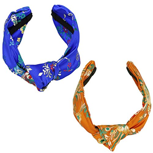 Samtree Women 2 Pack Wide Embroidered Floral Headband Satin Knot Turban Hair Accessories(Orange+Blue)