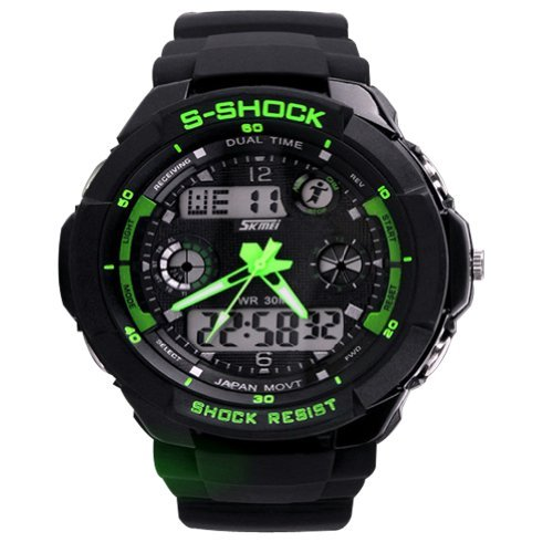 New Unisex Fashion Sport Watch Multifunction Multi-Colour Dual Time Led Light Analog Digital Waterproof Alarm S-Shock Boys Girls Women Men Wristwatch with Gift Package (Green) (Baby G Shock Watches Women Red)