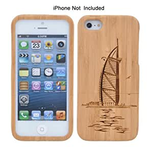 Pinnacle-Smartphone Hard Case, Carbonized Bamboo Fitted Case for Apple iPhone 5 5S with Boat