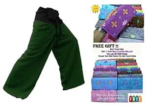 2 tons Thai Pantalon pêcheur Pantalon Yoga taille unique avec taille en coton à rayures pour femme