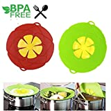 Spill Stopper Flower Silicone Cooking Tools lid Spill Stopper Lid Cover Lid Cover For Pan Kitchen Tool L (Red and Green)