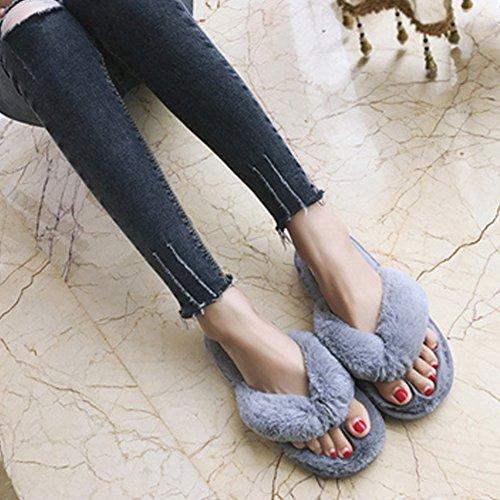 Femmes Pantoufles, Woopower Confortable Spa En Peluche Tongs Anti-dérapant Maison Chaussures Gris