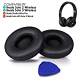 Professional Beats Solo Earpads Cushions Replacement by SoloWIT - Compatible with Beats Solo2 & Solo3 Wireless On-Ear Headphones with Soft Protein Leather/Strong Adhesive Tape