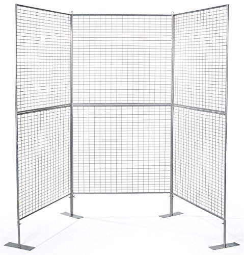 Displays2go Gridwall Panel for Art Work, Double Sided, Iron Build – Silver Finish (AD3PNL) by Displays2go