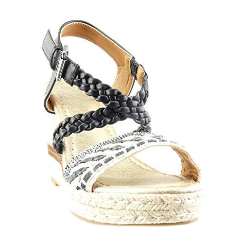 Diamant Chaussure Mode Sandale Plateforme 10 cm Espadrille Lanière Femme Tréssé Talon Noir Plateforme Strass Compensé Angkorly x0awqdpfa
