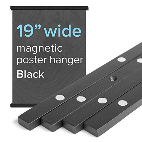 """(19"""" Wide Magnetic Poster Frame Hanger in Black – Solid Wood and Magnets Strong Enough to Hang Any Length)"""