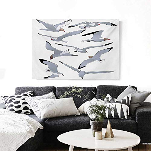"""BlountDecor Seagulls Wall Art Canvas Prints Seagulls in Flight Facing Different Positions Simplistic Cartoon Drawings Print Ready to Hang for Home Decorations Wall Decor 36""""x24"""" Black White"""