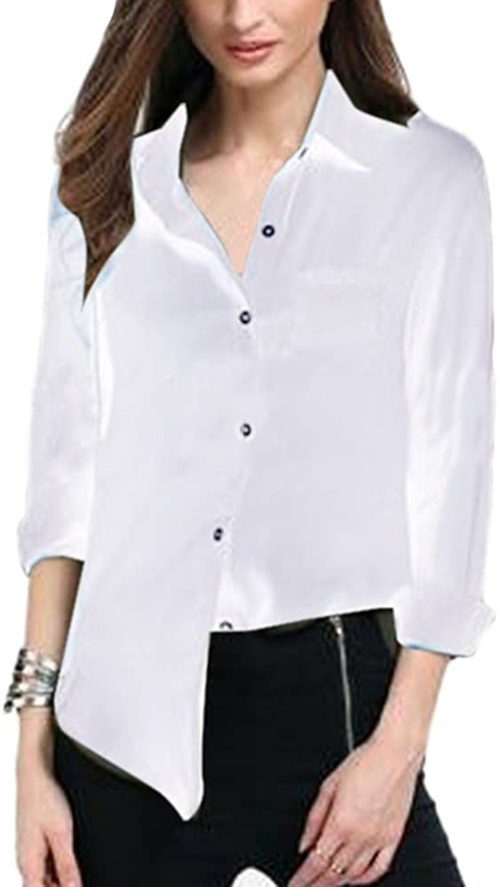 Camisa de Mujer Manga Larga Casual Blusa Tops Camiseta De La Gasa Túnica Camisa Manga 3/4 Tamaño Grande S Blanco: Amazon.es: Ropa y accesorios