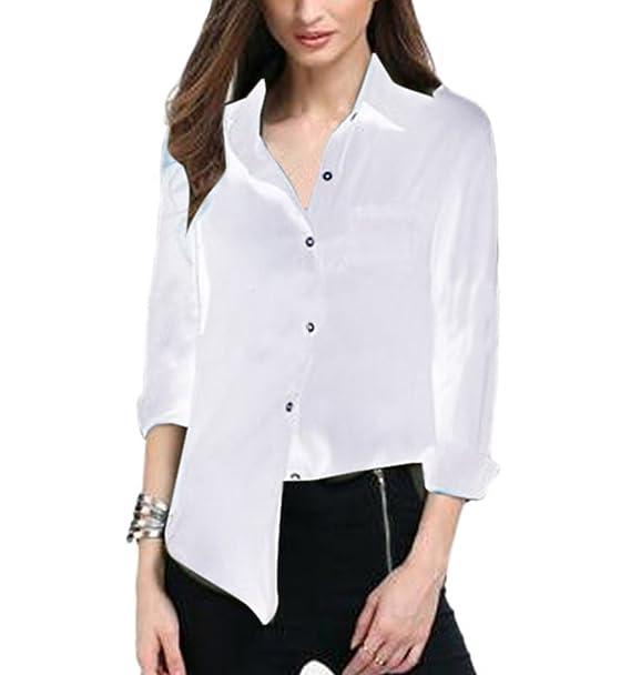 Camisa de Mujer Manga Larga Casual Blusa Tops Camiseta De La Gasa Túnica Camisa Manga 3