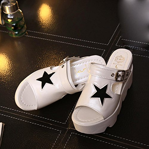 Womens Sandals ,Clode® [2017 Fashion] Ladies Girls Peep Toe Star Pattern High Heel Slipper Sandals Summer Beach Shoes for Indoor,Outdoor White