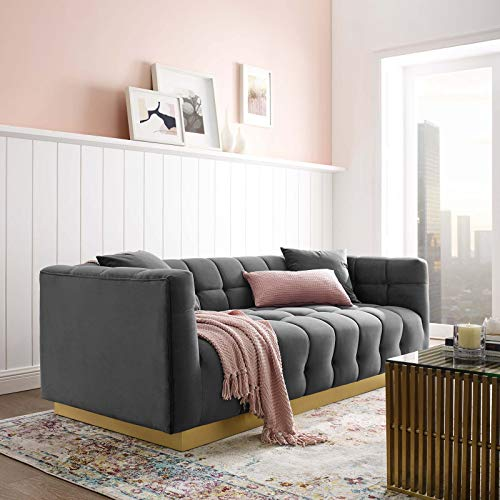 (Modway EEI-3409-GRY Vivacious Biscuit Tufted Performance Velvet Sofa, Gray)