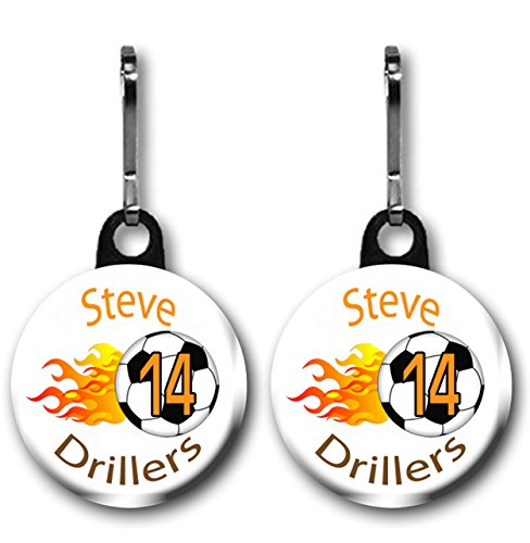 Soccer zipper pull/ bag tags two 1.0 inch charms personalized with name,number, team name and - Bag Tags Football