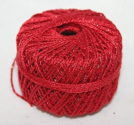 Filo Di Cotone In Lamè Rosso L 20 Mt Cordoncino Per Uncinetto E