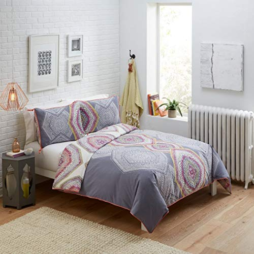3 Piece Pewter Grey Scale Medallion Comforter King Set, Mauve Purple White Bohemian Themed Moroccan Mandala Pattern, Coral Piping Reversible Diamond Printed Adult Bedding Master Bedroom, Cotton