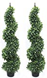 Pond Boxwood Spiral Topiary Tree BIG Leaf Premium Realistic Faux Artificial Plant Home Decor or Office (Twin Pack with Finial)