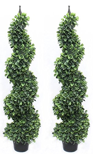 4 Foot Pond Boxwood Spiral Topiary Tree BIG Leaf Premium Realistic Faux Artificial Plant Home Decor or Office (Twin Pack with Finial) - Leaf Finial