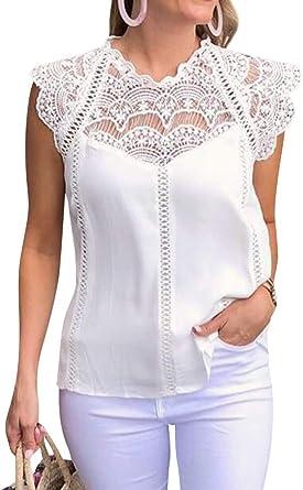OUNAR Mujeres Sexy Camisas de Encaje Crochet Recorte Ruffle Cap Manga Gasa Tops Blusa: Amazon.es: Ropa y accesorios