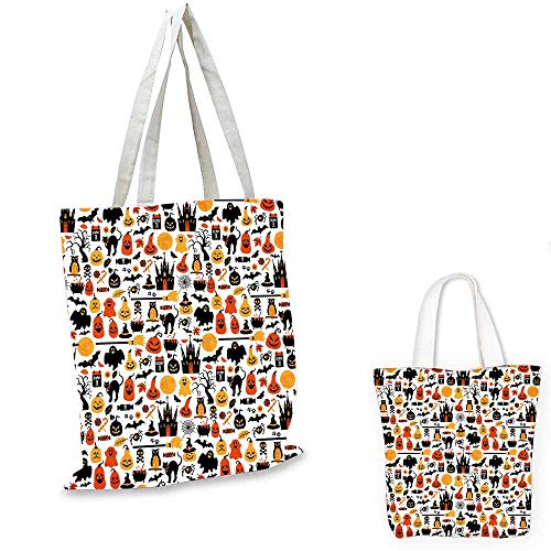 Halloween easy shopping bag Halloween Icons Collection Candies Owls Castles Ghosts October 31 Theme canvas tote bagOrange Yellow Black. -