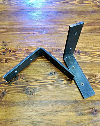 Handmade Steel Shelf Bracket Set – Two raw steel shelving brackets and hardware included