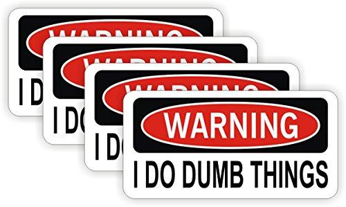 (4) I Do Dumb Things Hard Hat Stickers | Motorcycle Dirt Bike Helmet Decals | Funny Labels Toolbox Diesel Mechanic Danger Warning